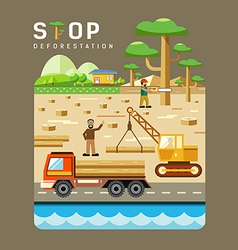 Deforestation concepts flat design vector