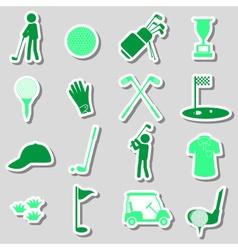 Golf sport simple black stickers set eps10 vector