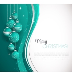 Merry christmas card with blue bauble vector