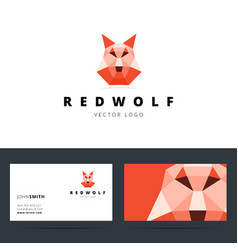 Triangle polygonal logo with wolf sign and vector