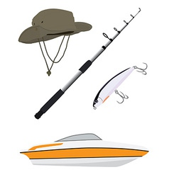 Fishing hatpole rod and boat vector