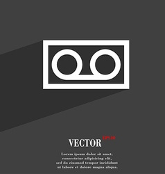Audio cassette icon symbol flat modern web design vector