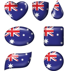 Australian flag in various shape glossy button vector