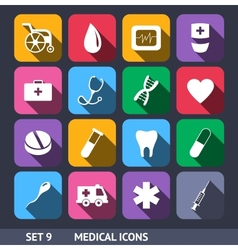 Medical icons with long shadow vector