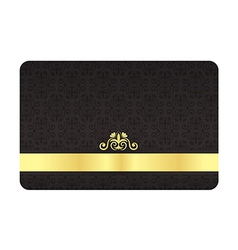 Black vip card with vintage pattern and golden vector