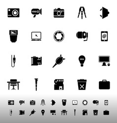 Photography related item iconscon white background vector