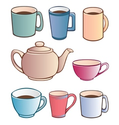 Cups and teapot vector