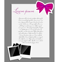 Instant photo background blank page vector
