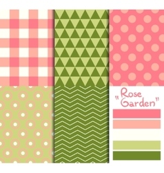 Set of 5 simple seamless geometric patterns rose vector