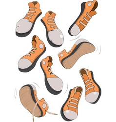 Sports footwear gym shoes vector