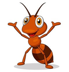 Cute ant cartoon waving vector