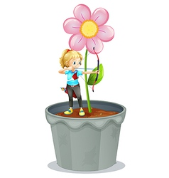Pot flower archer girl vector