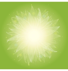 Magical green leaves sunburst background vector