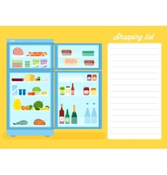 Shopping list flat style refrigerator vector
