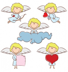 Cute color cupid set vector