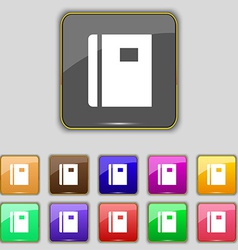 Book icon sign set with eleven colored buttons for vector