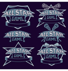 Set of vintage sports all star crests with vector