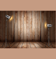 Photo studio in old wooden room vector