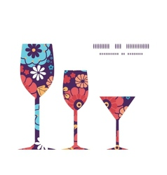 Colorful bouquet flowers three wine glasses vector