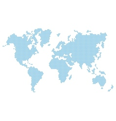 Dotted blue world map isolated on white vector