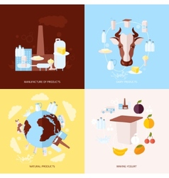 Milk icons set flat vector