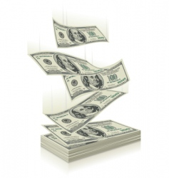 Money falling vector