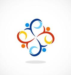 People swirl circle diversity logo vector
