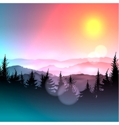 Bokeh colorful background and silhouette of forest vector