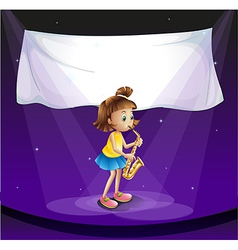A young girl performing at the stage with an empty vector