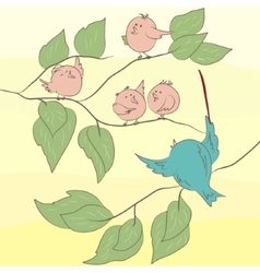 Birds on the branch eps 8 vector