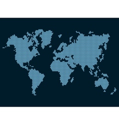 World map dotted on dark background vector
