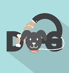 Dog with bone in hand typography design vector