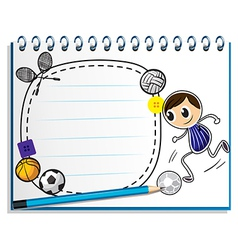 A notebook with a sketch of the different sports vector
