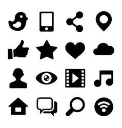 Communication social network icons set for web vector