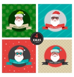 Four xmas cards with hipster santa vector
