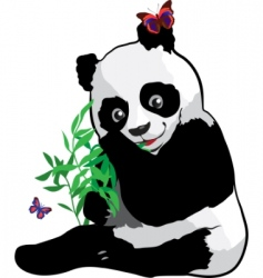 Young panda with a butterfly vector