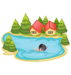 A boy swimming in the pool surrounded with pine vector