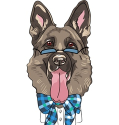 Hipster dog german shepherd breed vector