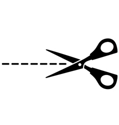 Scissors silhouette and cut line vector