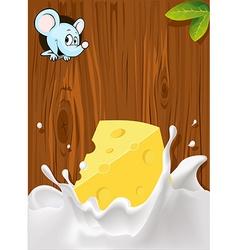 Splash of milk with cheese mouse peeking wood vector