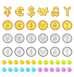 Various styles of gold coin sets vector