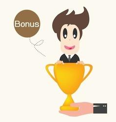 Businessman happy get money bonus vector