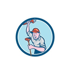 Plumber holding wrench plunger circle cartoon vector