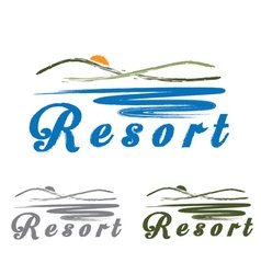 Sketch hills and sea emblem of resort vector