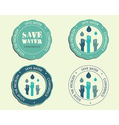 Save water conference logo and badge templates vector
