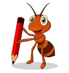 Cute ant cartoon with red pencil vector