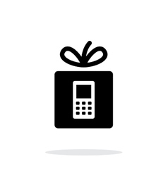 Gift phone icon on white background vector