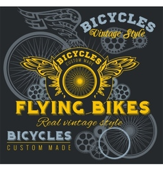 Vintage elements with bicycle label set template vector