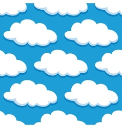 Cartoon seamless pattern with white clouds vector