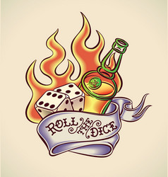 Roll the dice - tattoo design vector